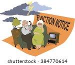 elderly couple sitting on a... | Shutterstock .eps vector #384770614