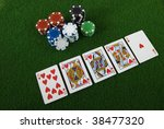 royal straight flush and some... | Shutterstock . vector #38477320