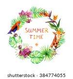 tropical leaves  giraffe animal ... | Shutterstock . vector #384774055