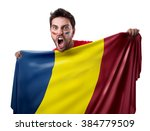 fan holding the flag of romania ... | Shutterstock . vector #384779509