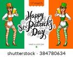 cute girl serving saint patrick'... | Shutterstock . vector #384780634