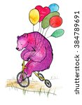 sad pink bear riding a tricycle ... | Shutterstock . vector #384789691