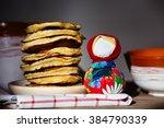 russian maslenitsa  pancakes on ... | Shutterstock . vector #384790339
