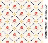 seamless cake pattern. bon... | Shutterstock .eps vector #384809269