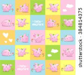 pink baby elephant pattern ...   Shutterstock .eps vector #384814375