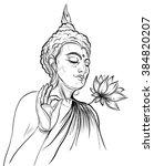 buddha holding lotus flower.... | Shutterstock .eps vector #384820207