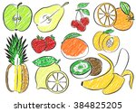 contour fruits. isolated vector ... | Shutterstock .eps vector #384825205