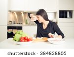 young housewife beginner cook...   Shutterstock . vector #384828805