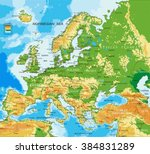europe   physical map | Shutterstock .eps vector #384831289