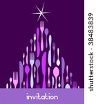 Christmas Tree Cutlery. Fork, spoon and knife pattern forming a tree with a shiny white star on top. Blue background. Usable as invitation card. - stock vector