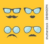 glasses and mustache lips... | Shutterstock .eps vector #384840094
