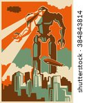 retro illustration with giant... | Shutterstock .eps vector #384843814