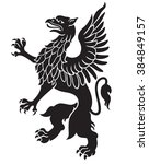 heraldic griffin black with... | Shutterstock . vector #384849157