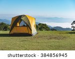 camping tents on the lawn at... | Shutterstock . vector #384856945