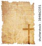 christian cross on paper...   Shutterstock . vector #384862351