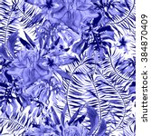 tropical pattern. hand drawn... | Shutterstock . vector #384870409