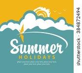 vector summer banner with sea ... | Shutterstock .eps vector #384872494