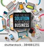 ideal workspace for teamwork... | Shutterstock . vector #384881251