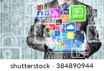 business man using tablet pc... | Shutterstock . vector #384890944
