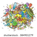 colorful cartoon composition of ... | Shutterstock .eps vector #384901279