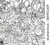 seamless pattern of cartoon... | Shutterstock .eps vector #384901309