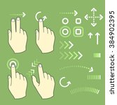 touch screen gesture hand signs ... | Shutterstock .eps vector #384902395