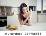 woman with hand blender making... | Shutterstock . vector #384906955