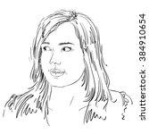 vector portrait of attractive... | Shutterstock .eps vector #384910654