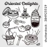 oriental foods set. poster in... | Shutterstock .eps vector #384925519
