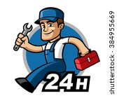 plumber  he is running and... | Shutterstock .eps vector #384955669