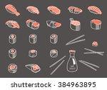sushi and rolls set on dark... | Shutterstock .eps vector #384963895