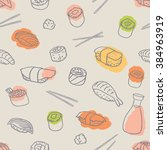 seamless line drawing sushi and ... | Shutterstock .eps vector #384963919
