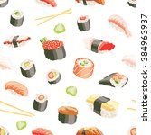 sushi and rolls pattern | Shutterstock .eps vector #384963937