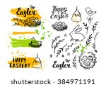 vector easter card and hand... | Shutterstock .eps vector #384971191