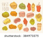 colorful fast food set   Shutterstock .eps vector #384973375