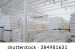 bags with flour in warehouse of ... | Shutterstock . vector #384981631