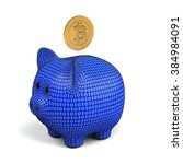 bitcoin symbol and piggy bank... | Shutterstock . vector #384984091