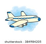 jet airplane icon on a sky... | Shutterstock .eps vector #384984205