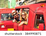 cheerful tourist couple in tuk... | Shutterstock . vector #384990871