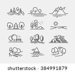 nature landscape icons  | Shutterstock .eps vector #384991879