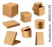 set cardboard boxes  vector | Shutterstock .eps vector #385013155
