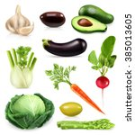 vegetables  set of vector icons | Shutterstock .eps vector #385013605
