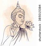 buddha holding lotus flower....   Shutterstock .eps vector #385015384