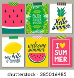 Vector set of bright summer cards. Beautiful summer posters with pineapple, watermelon, lemon, palm leaves and hand written text. Journal cards. | Shutterstock vector #385016485