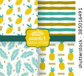 vector set of summer seamless... | Shutterstock .eps vector #385016491