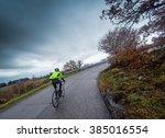 Cyclist Trains Along A Mountai...