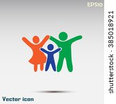 happy family icon in simple... | Shutterstock .eps vector #385018921