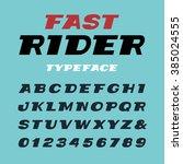 wide italic font. vector... | Shutterstock .eps vector #385024555