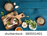 culinary background with spices ... | Shutterstock . vector #385031401