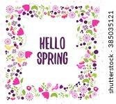 vector floral frame in doodle...   Shutterstock .eps vector #385035121